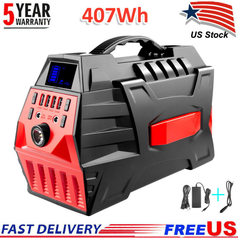 500W Portable Power Station Backup Battery Pack Solar Generator with 110V AC Out