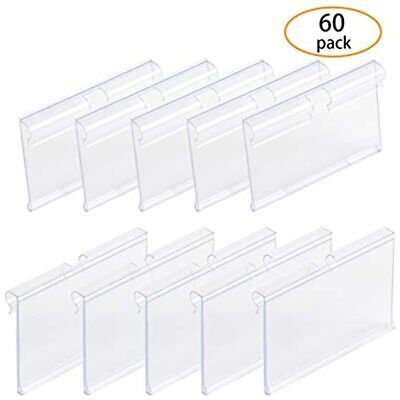 Sbyure 60 Pcs Clear Plastic Label Holder For Wire Shelf Retail Price Holders X