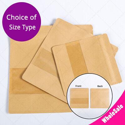 Multi-size Kraft Paper Mylar Flat Zip Lock Bag W Clear Rectangle Window