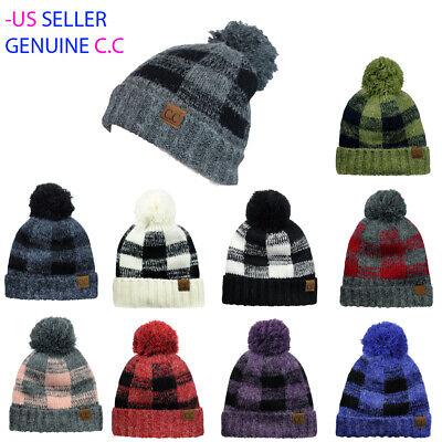 CC C.C ® Beanie Soft Stretch Pom Pom Fuzzy Lined Buffalo Plaid Cuff Beanie Hat Buffalo Plaid Hat