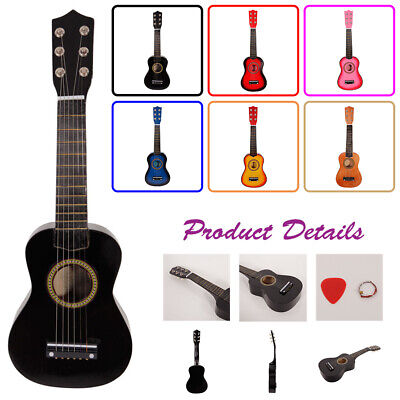 """Beginner Kids Gift Classical Acoustic Guitar With Steel String & Plectrum 23"""""""