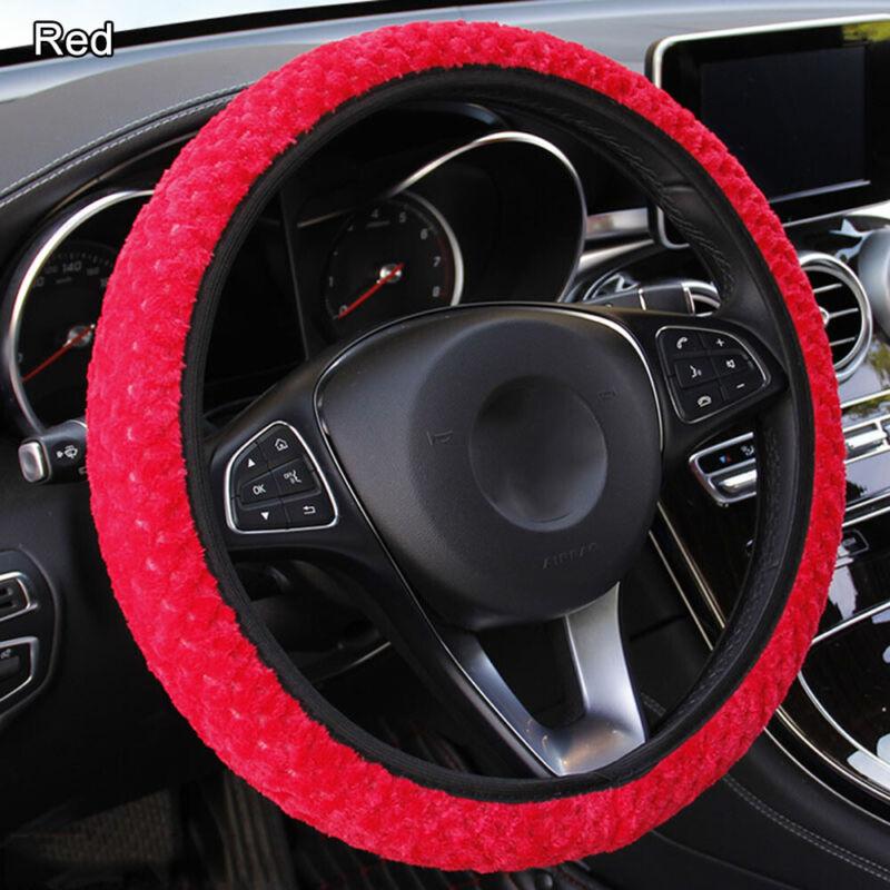 Winter Auto Decoration Car Steering Wheel Cover Pearl Velvet Soft Warm Plush