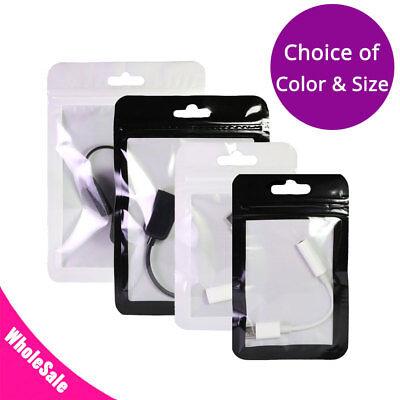 Different Sizes Black White Framed Clear Front Mylar Zip Lock Bag W Euro Slot M