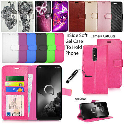 For Alcatel 3 3L 2019 5053Y Phone Case Wallet Leather Cover Book Flip + Stylus
