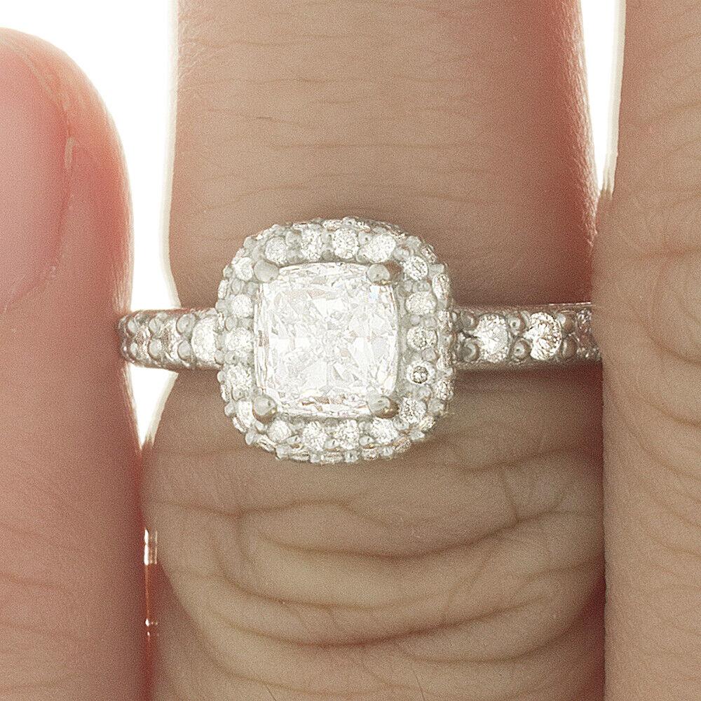 Natural GIA Certified 1.78 carat Cushion Cut Diamond Engagement Ring 14k Gold 4
