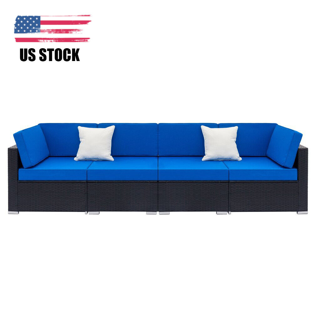 Garden Furniture - 4 Pcs Patio Rattan Wicker Sofa Set Yard Garden Furniture Outdoor Sectional Couch