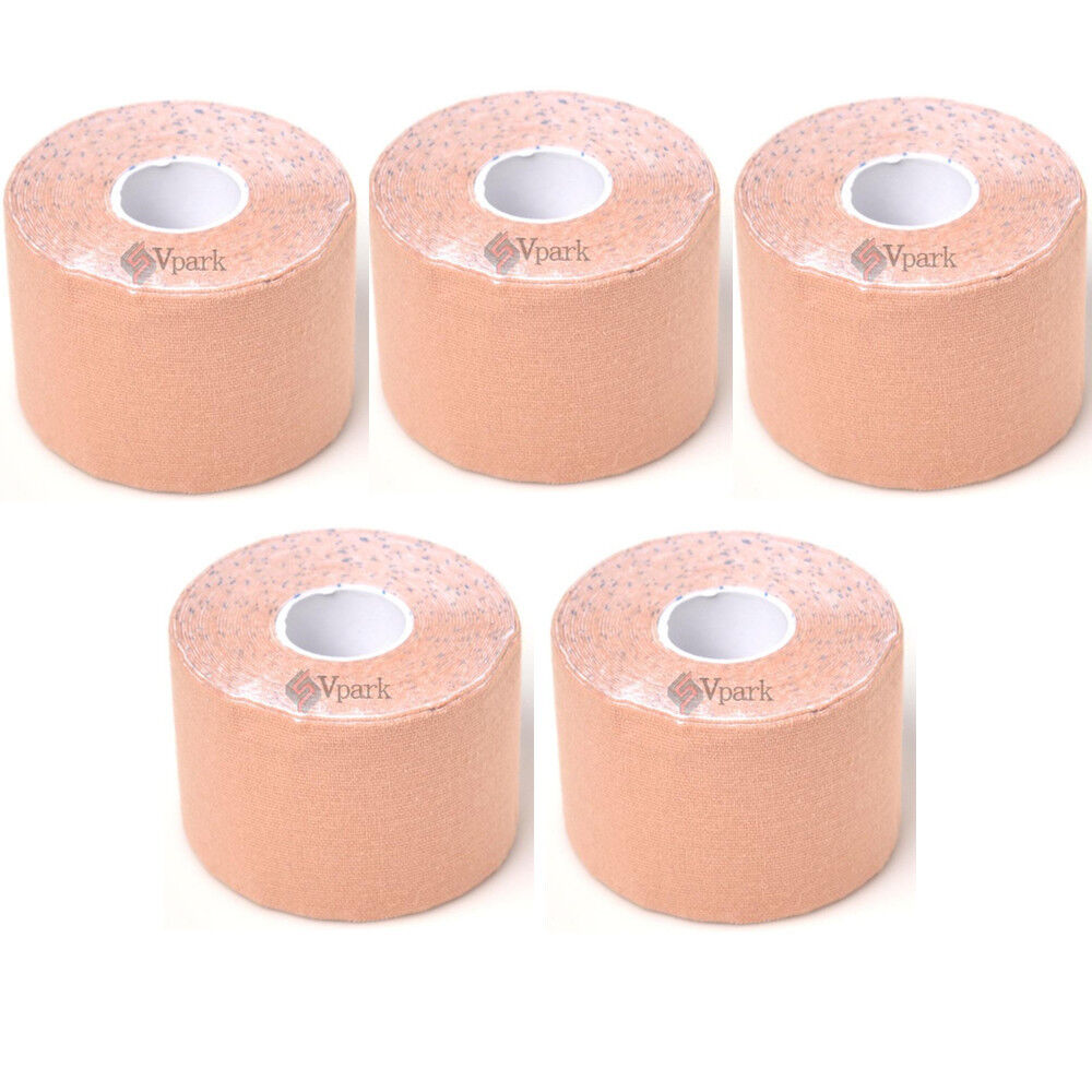 5m x 5cm 5 Rolls Athletic Sports Muscles Care Elastic Physio Therapeutic Tape