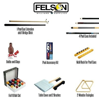 Felson Billiard Pool Table Accessories Set Kit 32 Piece Deluxe Pro Series -