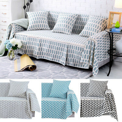 Cotton Blend Slipcover Chair Couch Sofa Cover Seat Protector for 1 2 3 4 Seater Cotton Floral Slipcover