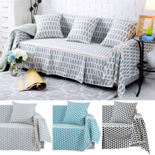 Details about Cotton Blend Slipcover Chair Couch Sofa Cover Seat Protector  for 1 2 3 4 Seater