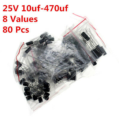 80pcs 8values 10uf-470uf 25v Aluminum Electrolytic Capacitor Assorted Kit Radial