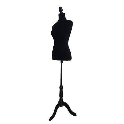 Female Mannequin Torso Dress Display Form W Black Tripod Stand Black Foam No.36