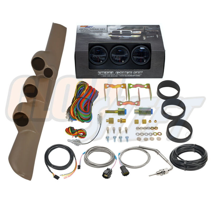GlowShift T7 Boost EGT Trans Temp Gauges + Tan Pod for 98-02 Dodge Ram Cummins