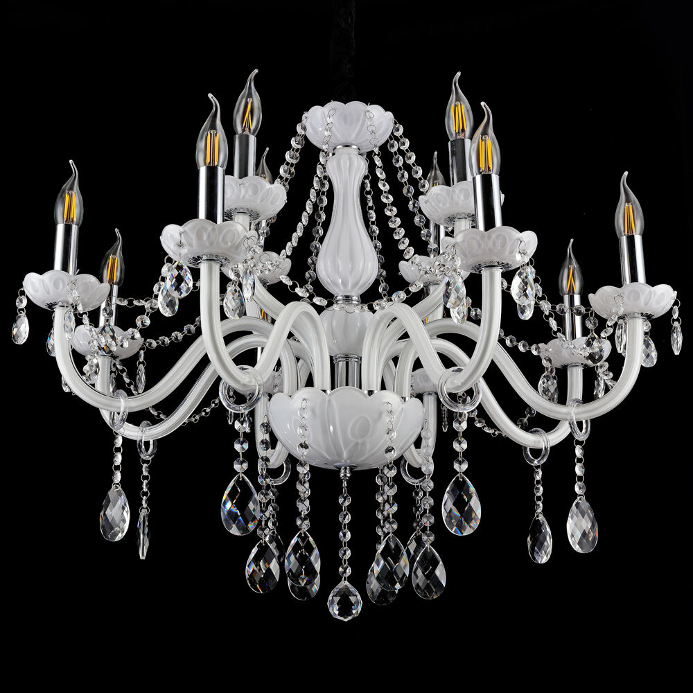 kristall kronleuchter wei pendelleuchte 12 leuchten deckenlampe h ngeleuchte eur 51 55. Black Bedroom Furniture Sets. Home Design Ideas