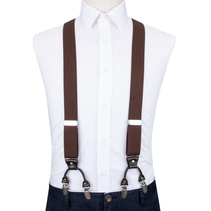 Dibangu Mens Adjustable Suspenders Clip-on Braces Elastic For Shirts Pants Jeans