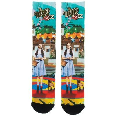 THE WIZARD OF OZ DOROTHY TOTO MUNCHKINLAND SUBLIMATED ALL OVER PRINT CREW SOCKS