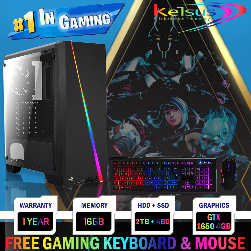 Computer Games - FAST Quad Core i7 GTX 1650 Gaming PC 16GB RAM 2TB Windows 10 Desktop Computer