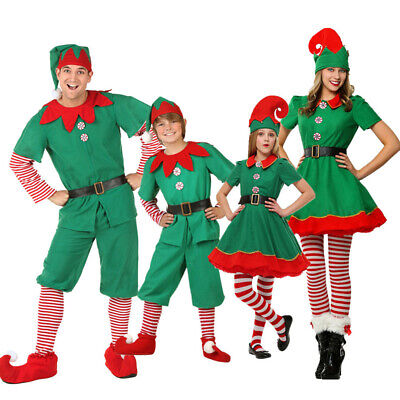 Cute Costumes For Boys (Christmas Cute Green Elf Cosplay Costume Suit For Womens Girls Men Boys)