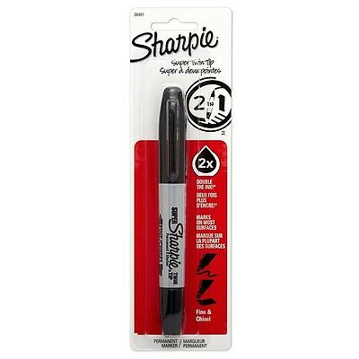 Sharpie Twin-tip Chisel Point Permanent Marker Black 1 Ea