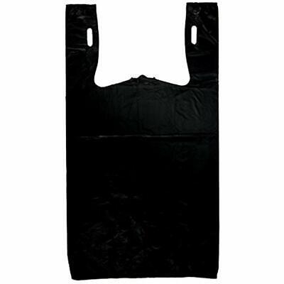 Plastic Bag-Black Shopping & Merchandise Bags Plain Embossed T-Shirt 13 Mic 100
