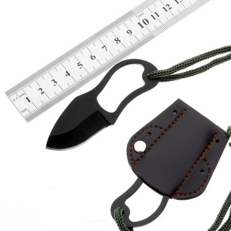 Mini Pocket Finger Paw Self-Defence Survival Fishing Neck Knife With Sheath Set