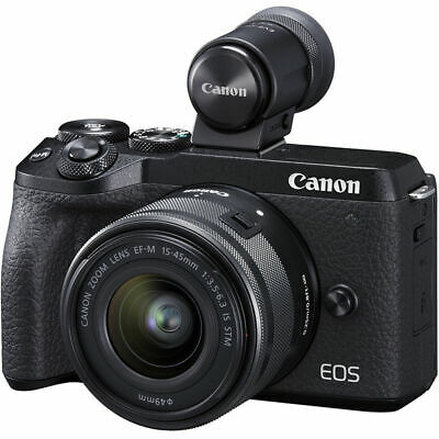 Canon EOS M6 Mark II Mirrorless Camera w/ 15-45mm Lens & EVF-DC2 Viewfinder