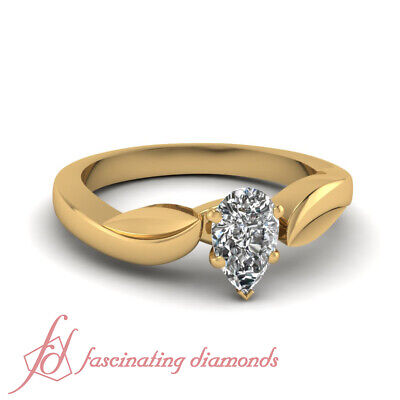1/2 Carat Pear Shaped Natural Diamond Leaf Contour Solitaire Engagement Ring GIA