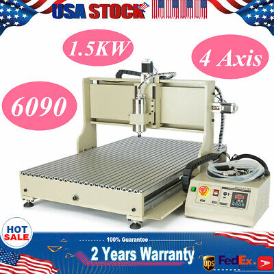 Usb 1500w 4 Axis Cnc 6090 Router Engraver Diy Machine Drill Mill 220v 3d Cutter