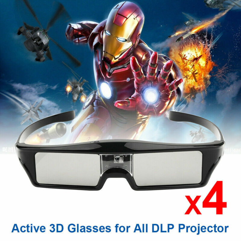 4x Ultra Clear HD 3D Glasses for DLP Projector BenQ Optoma Dell WOWOTO 3D Movie