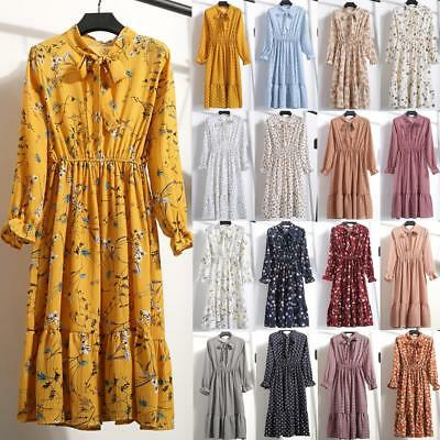 2019 Spring Women Floral Chiffon Long Sleeve Casual Party VintageBoho Maxi Dress