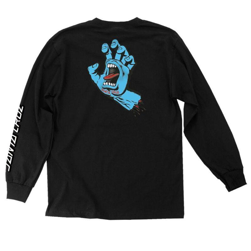 Santa Cruz SCREAMING HAND LONG SLEEVE Skateboard Shirt BLACK XL