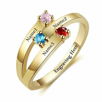 14k Gold Family Birthstone Ring (Personalized 14k Gold IP 3 Birthstone & 3 Engraved Name Mothers Family)
