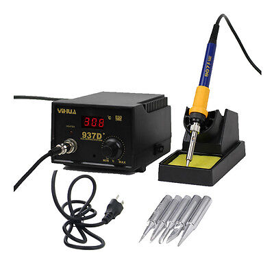 937D+ Electric Soldering Station SMD Welding Solder Iron ESD 110V 5 Iron tips