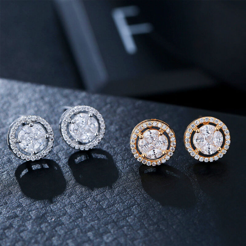 Jewellery - Ladies Charm Crystal 925 Sterling Silver Stud Earrings Fashion Womens Jewellery