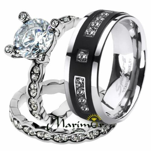 His & Her 3pc Stainless Steel 2.25 Ct Cz Bridal Set & Men...