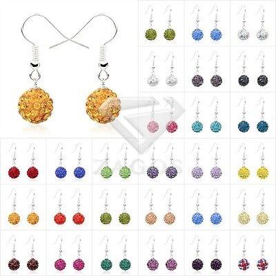 1 Pair 37 Color Rhinestone Crystal Disco Ball Bead 10mm Dangle Earrings (Colored Disco Ball)