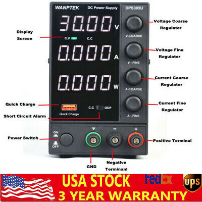 Wanptek Adjustable Dc Power Supply 30v 5a Led Display 4 Digits Black Usa