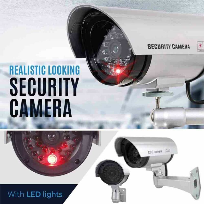 House Dummy Security Camera Fake Waterproof w/LED Light Home Surveillance Silver