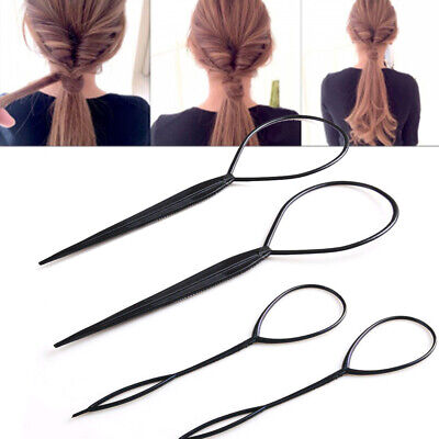 4pcs Black Topsy Tail Hair Braid Ponytail Maker Styling Tool Hair Accessories