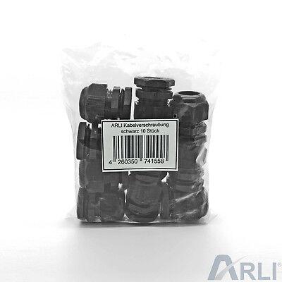 Kabelverschraubung M20 x 1,5 mm IP67 10x Stück Verschraubung 7-12 mm schwarz