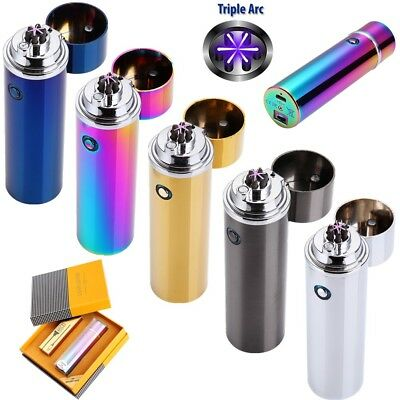 Electric USB Rechargeable Triple Arc 6 Cross Plasma Windproof Flameless Lighter - Flameless Lighter