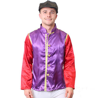 JOCKEY COSTUME 2 PIECE PURPLE  SET MENS HORSE RACING FANCY DRESS JACKET AND CAP - 2 Man Horse Costume