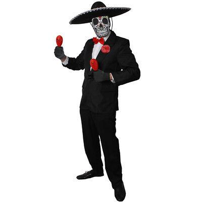 MENS DAY OF THE DEAD MARIACHI MAN COSTUME SUGAR SKELETON HALLOWEEN FANCY DRESS