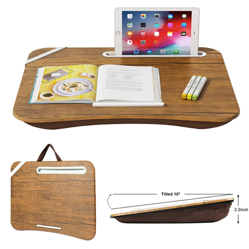 Home Portable BI Lap Desk Table Tray Laptop Cushion Bed Pillow ipad Phone Stand
