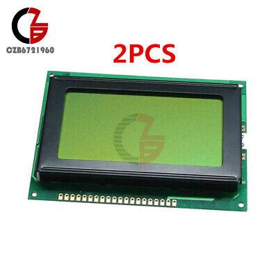 2pcs 12864 Lcd Display 128x64 Dots Graphic Matrix Yellow Green Backlight Module