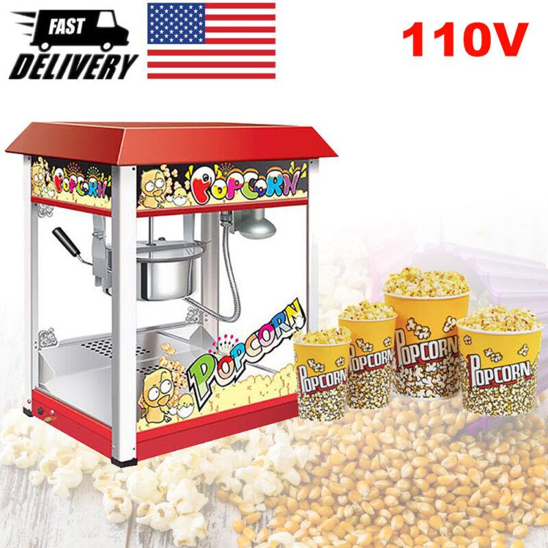 110V Commercial Popcorn Maker Machine Electric Automatic Pop