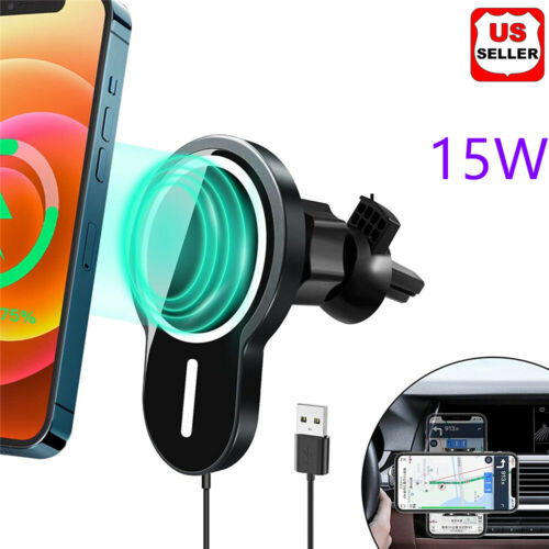 15W Mag Safe Car Vent Mount Magnetic Wireless Charger For iPhone 12 Pro Max Mini Cell Phone Accessories