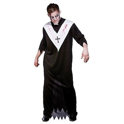 Adult ZOMBIE PRIEST Vicar Sinner Possessed Halloween Fancy Dress Costume Male - Zombie Halloween Costume Male