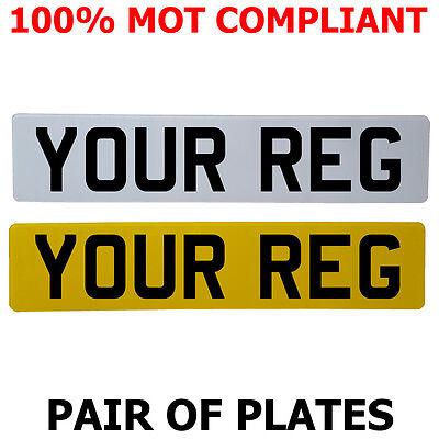 Pair Standard Number Plates 100% MOT Compliant - ROAD LEGAL