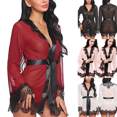 (Sexy Lingerie Women Silk Lace Long Robe Dress Babydoll Drawstring Nightwear )